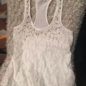 Express white lace with pearls